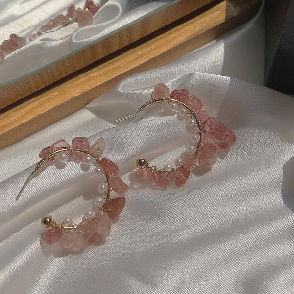 (수입) 핑크 자개 진주 링 귀걸이-2430