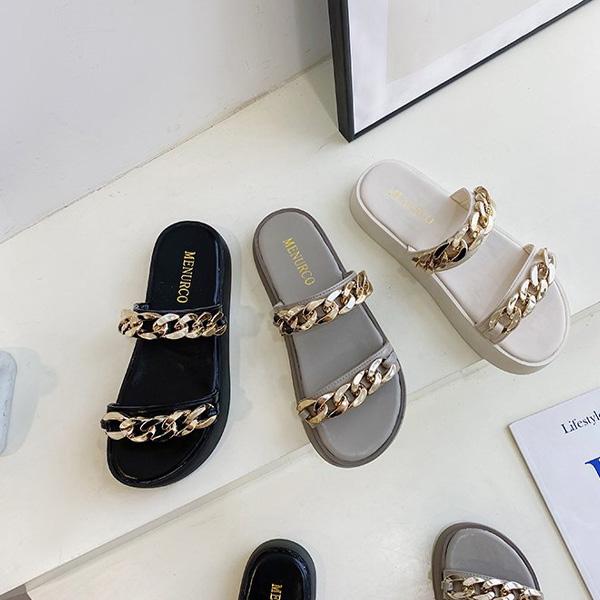 (수입) 통굽 베이직 금장체인 샌들-04K67