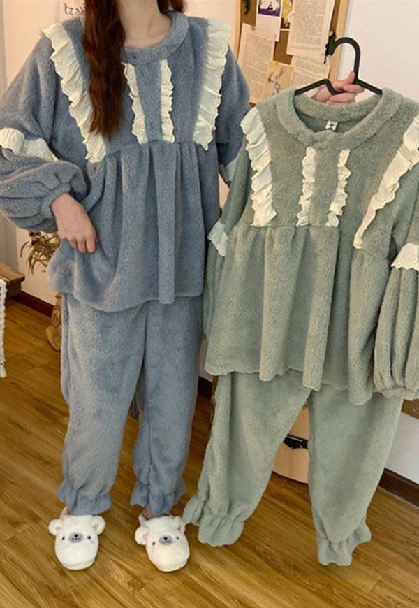 (수입) 러플 레이스 수면 잠옷 세트 -3037