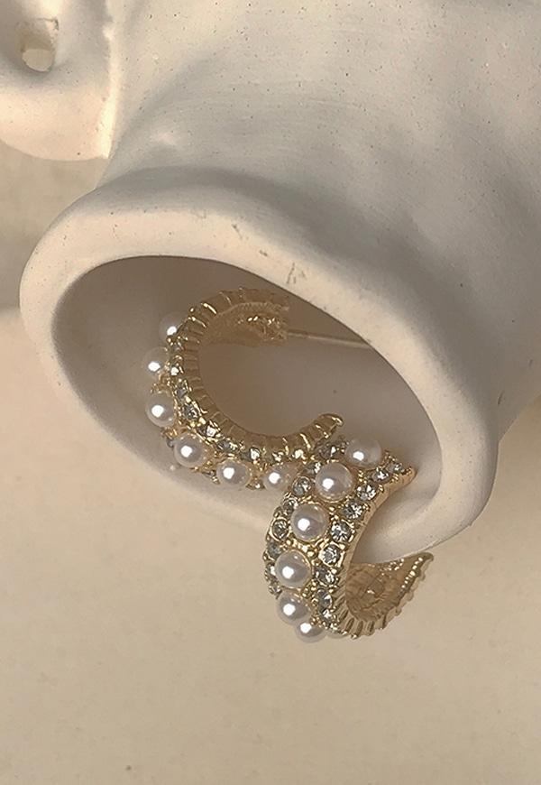 (수입) 원형 진주 큐빅 귀걸이-E329
