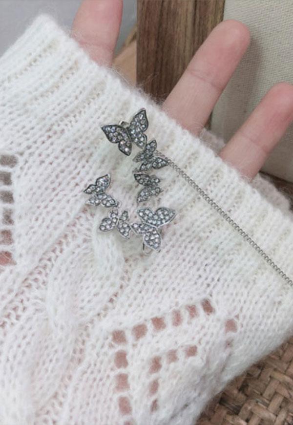 (수입) 나비 포인트 진주 롱 귀걸이-732