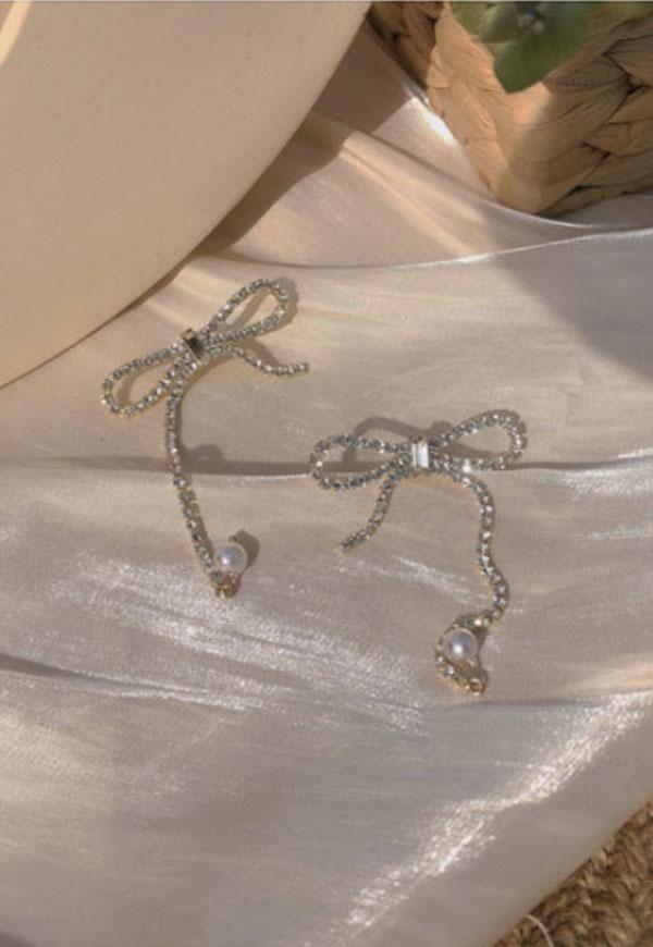 (수입) 리본 매듭 진주 포인트 귀걸이-757