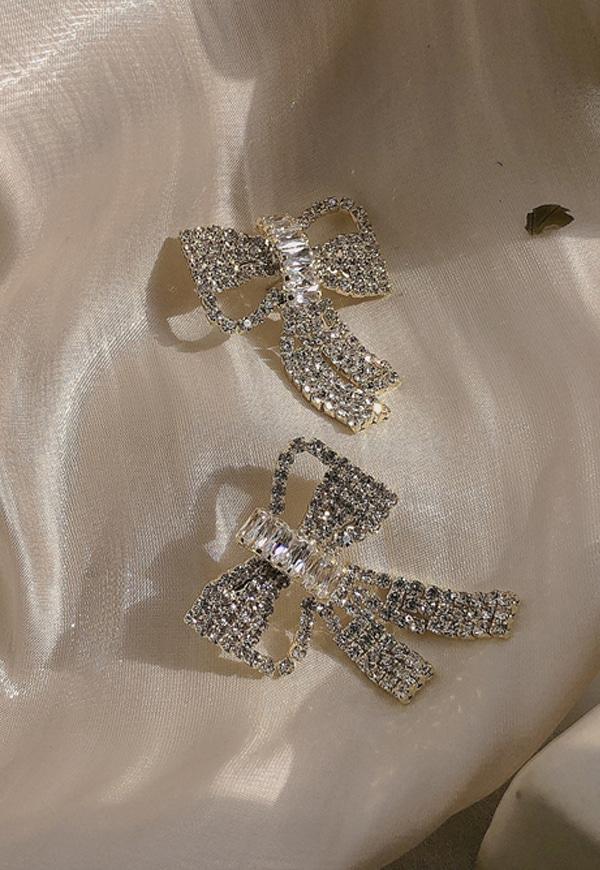 (수입) 큐빅 리본 매듭 포인트 귀걸이-861