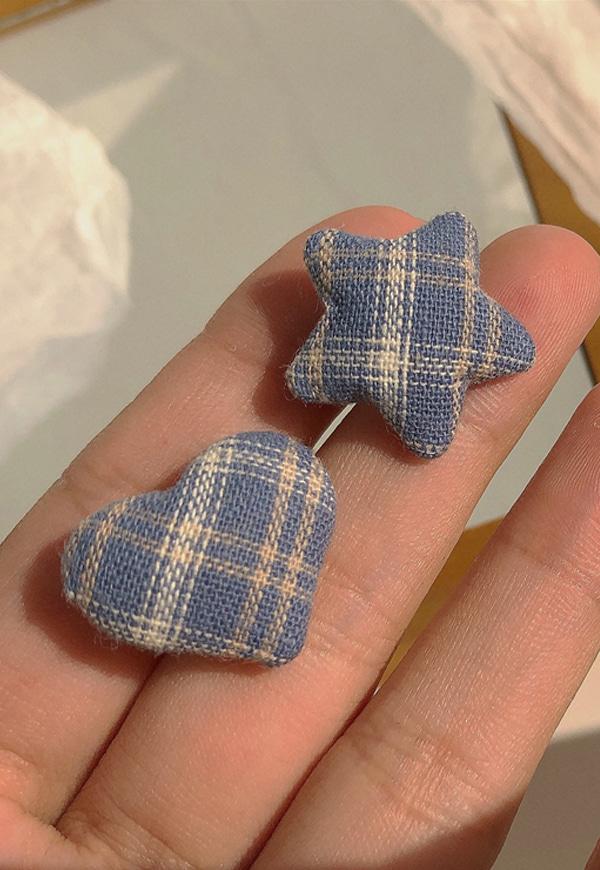 (수입) 블루 체크 하트&별 귀걸이-2283