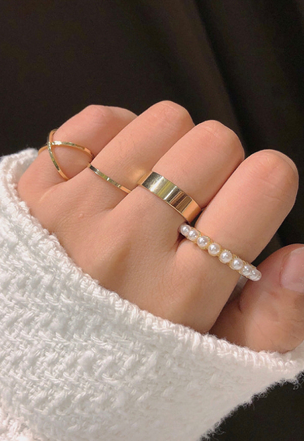(수입) 진주 레이어드 반지 세트-2354