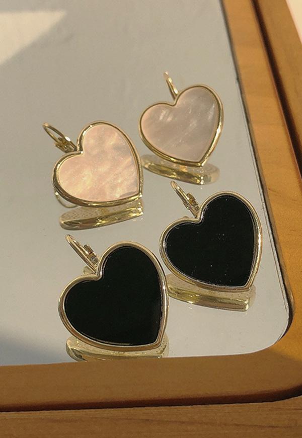 (수입) 블랙&화이트 하트 귀걸이-2290