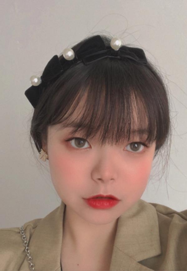 (수입) 벨벳 진주 리본 머리띠-2330