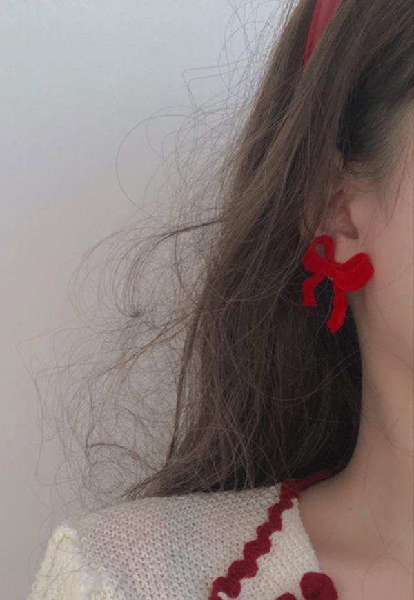 (수입) 벨벳 리본 매듭 귀걸이-2550