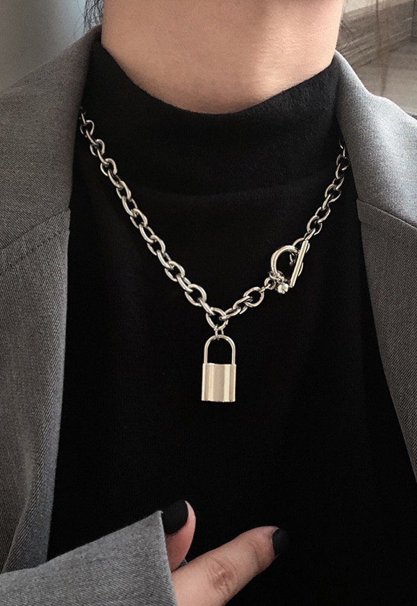 (수입) 볼드 체인 자물쇠 목걸이-2503