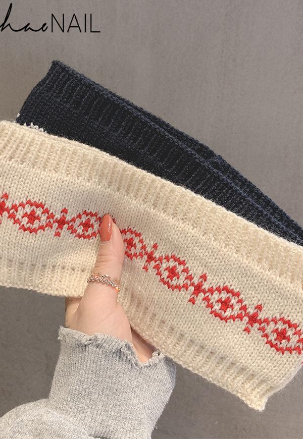 (수입) 금붕어 패턴 한줄 니트 머리띠-F-273