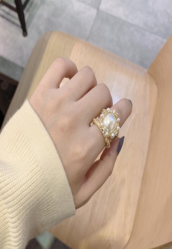 (수입) 빅 진주 블링블링 반지-M1103