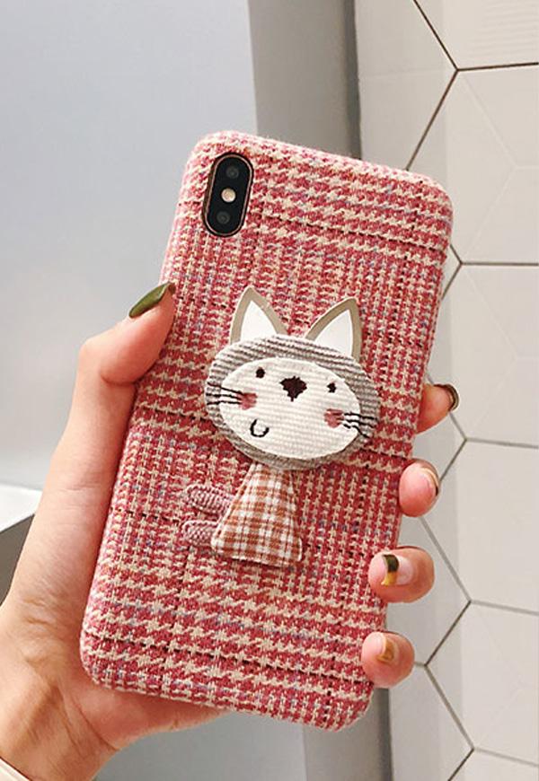 (수입) 트위드 라인 귀여운 고양이 케이스#